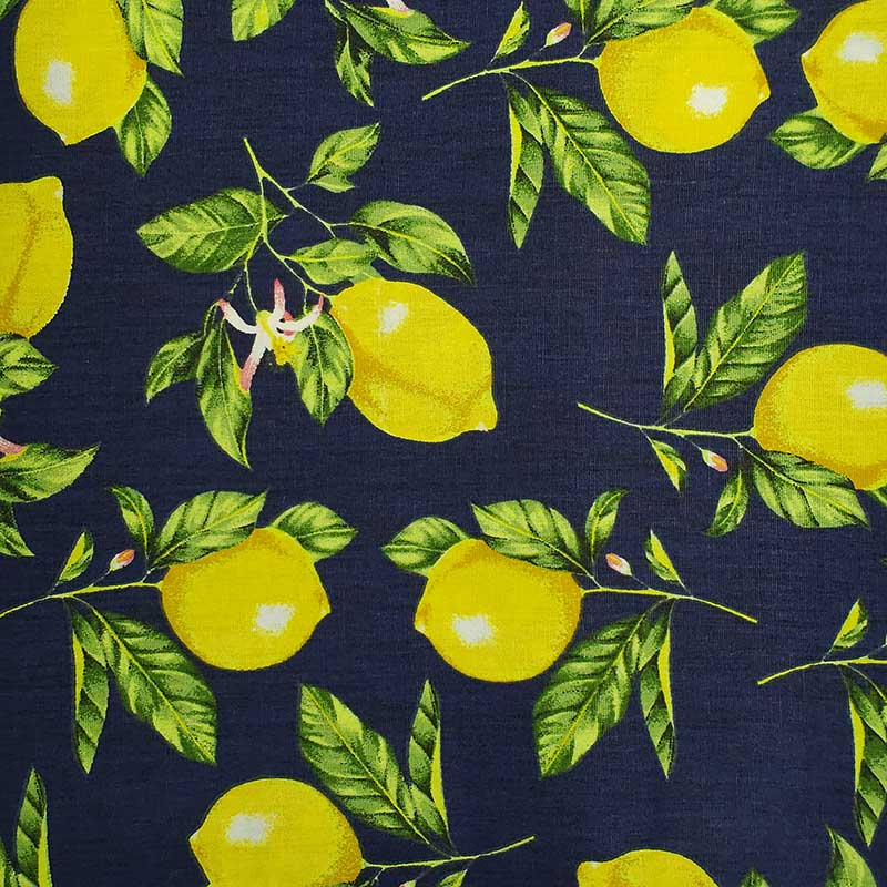 Caldeira - Estampa Limão Fundo Marinho - 50cm x 150cm