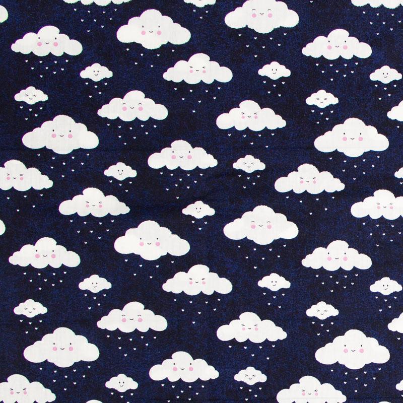 Caldeira - Estampa Nuvens  Fundo Azul Marinho - 50cm x 150cm