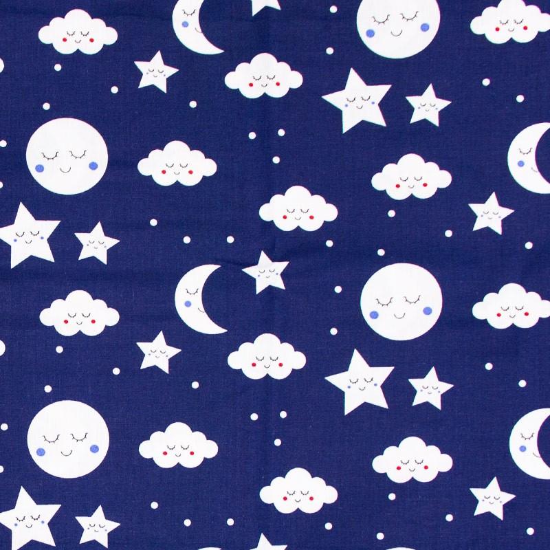Caldeira - Estampa Nuvens/Lua/Estrelas/Poá  Fundo Azul Marinho - 50cm x 150cm