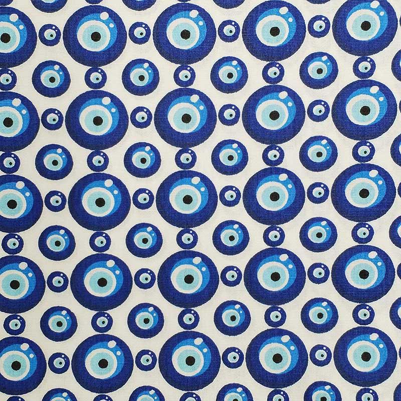 Caldeira - Estampa Olho Grego Fundo Branco - 50cm x 150cm