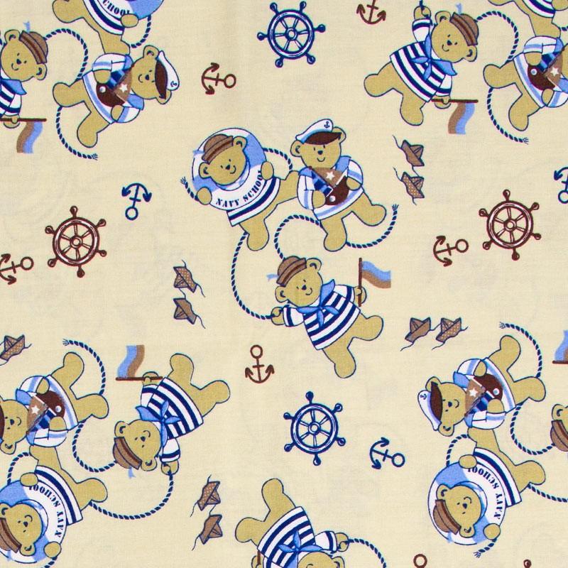 Caldeira - Estampa Ursinho Elo Azul com Bege - 50cm x 150cm