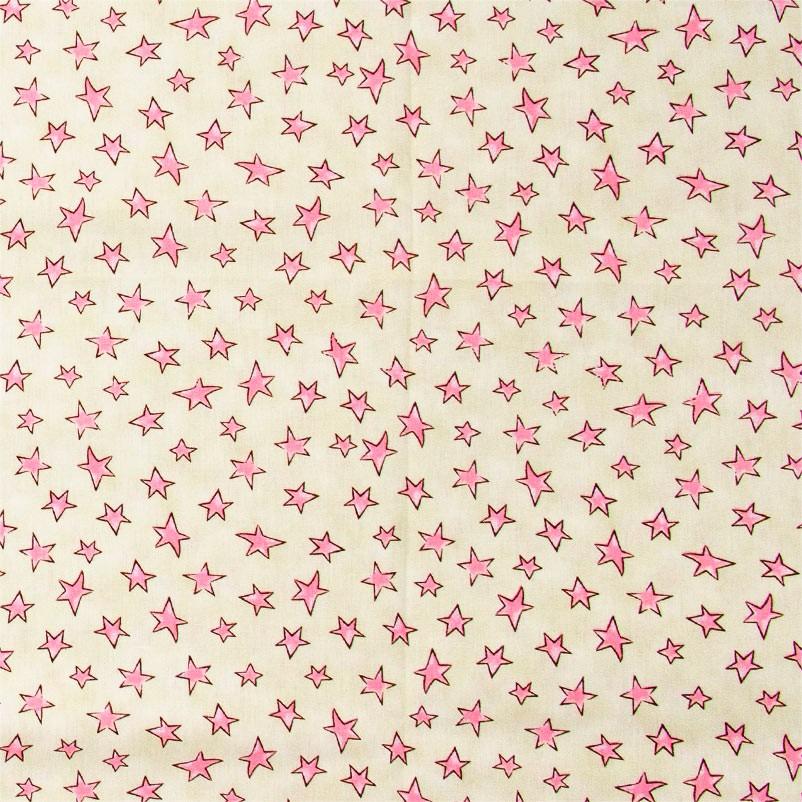Caldeira Coleção Conto de Fadas - Estrelinha Rosa Fundo Amarelo - 50cm x 150cm