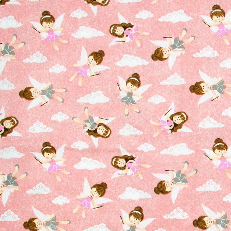 Caldeira - Fadas Vestido Rosa/Cinza Com Fundo Rosa - 50cm x 150cm