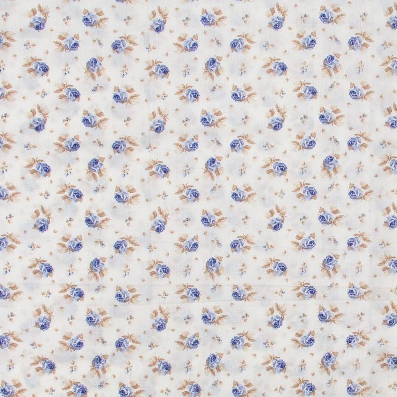Caldeira - Floral Azul Com Fundo Branco - 50cm x 150cm