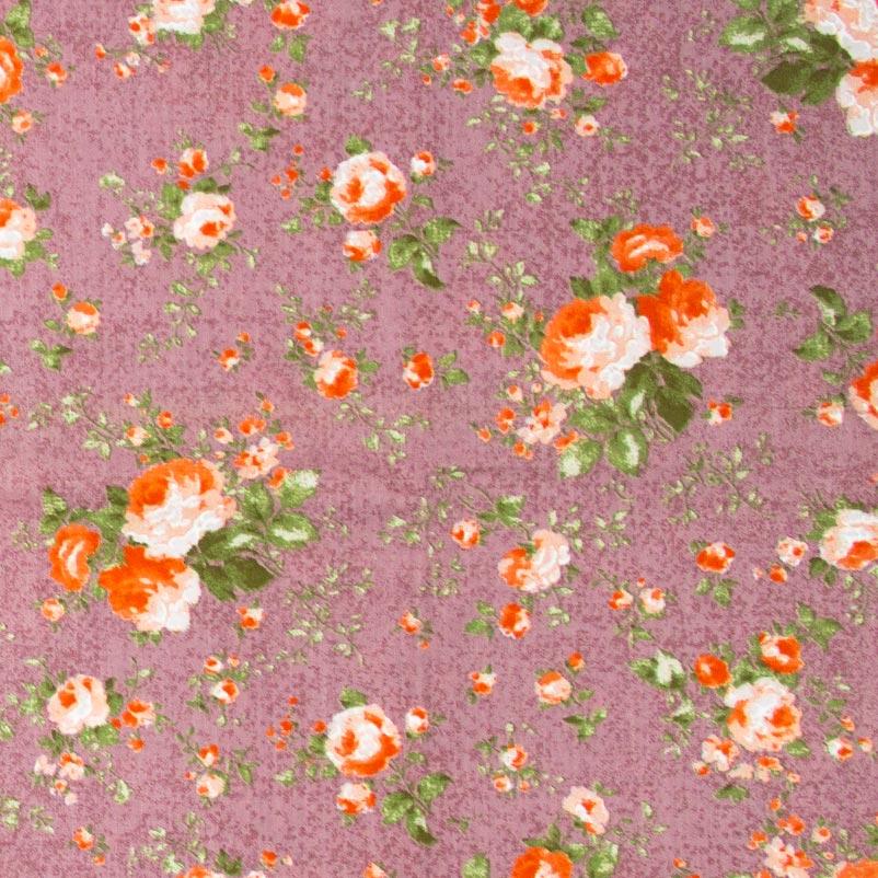 Caldeira - Floral Com Fundo Roxo - 50cm x 150cm