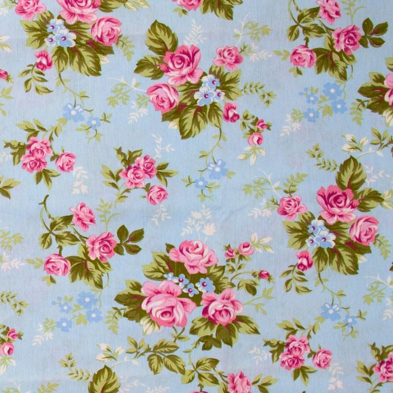 Caldeira - Floral Rosa/Azul Folhas Verdes Com Fundo Azul Claro - 50cm x 150cm
