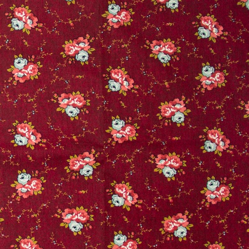 Caldeira - Floral Rosa/Branco Com Fundo Vinho - 50cm x 150cm