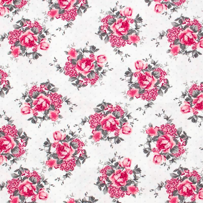 Caldeira - Floral Rosa/Cinza Com Fundo Branco - 50cm x 150cm