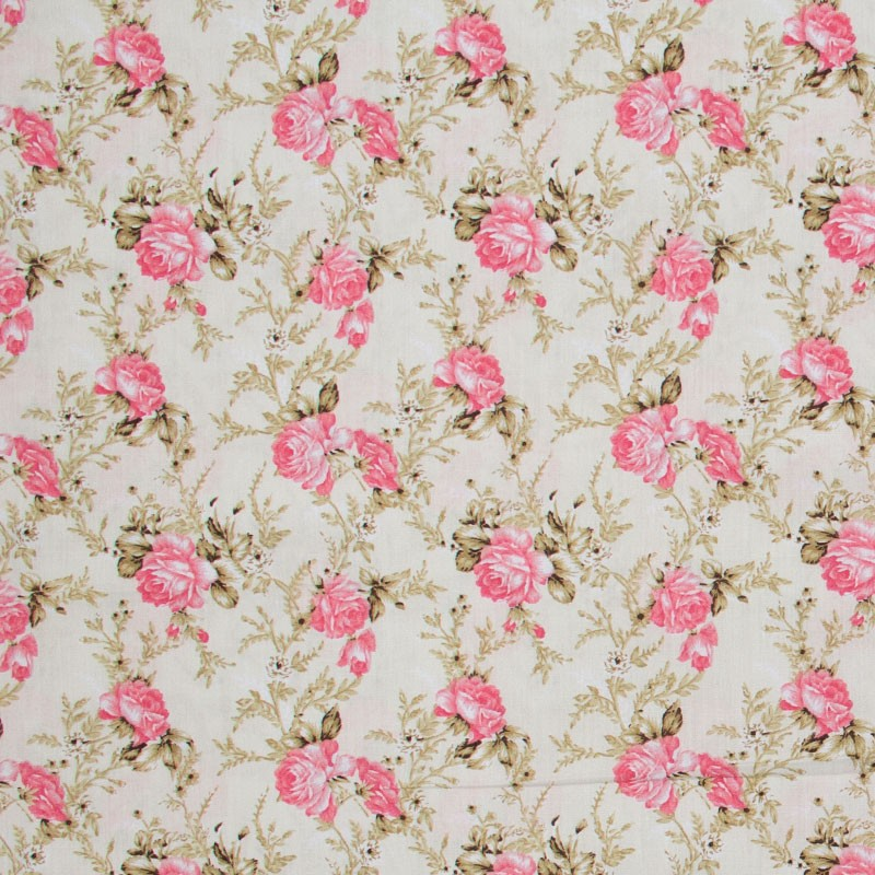 Caldeira - Floral Rosa Com Bege - 50cm x 150cm