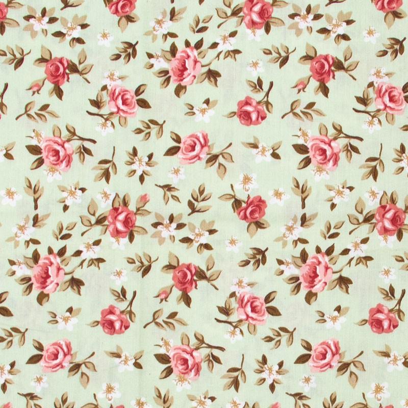 Caldeira - Floral Rosa Com Fundo Verde Água - 50cm x 150cm