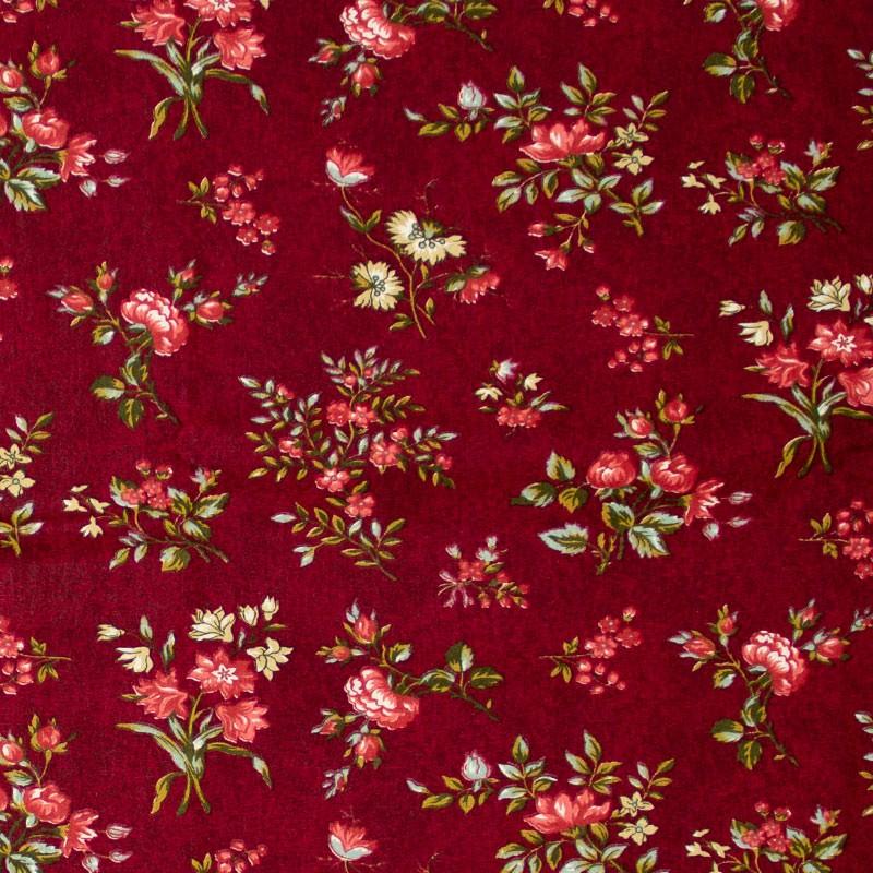 Caldeira - Floral Rosa Com Fundo Vinho - 50cm x 150cm