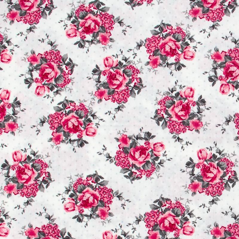 Caldeira - Floral Rosa Com Poá Cinza - 50cm x 150cm