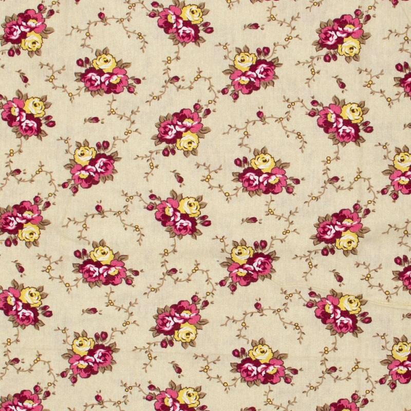 Caldeira - Floral Rosa/Vinho/Amarelo Com Fundo Bege - 50cm x 150cm