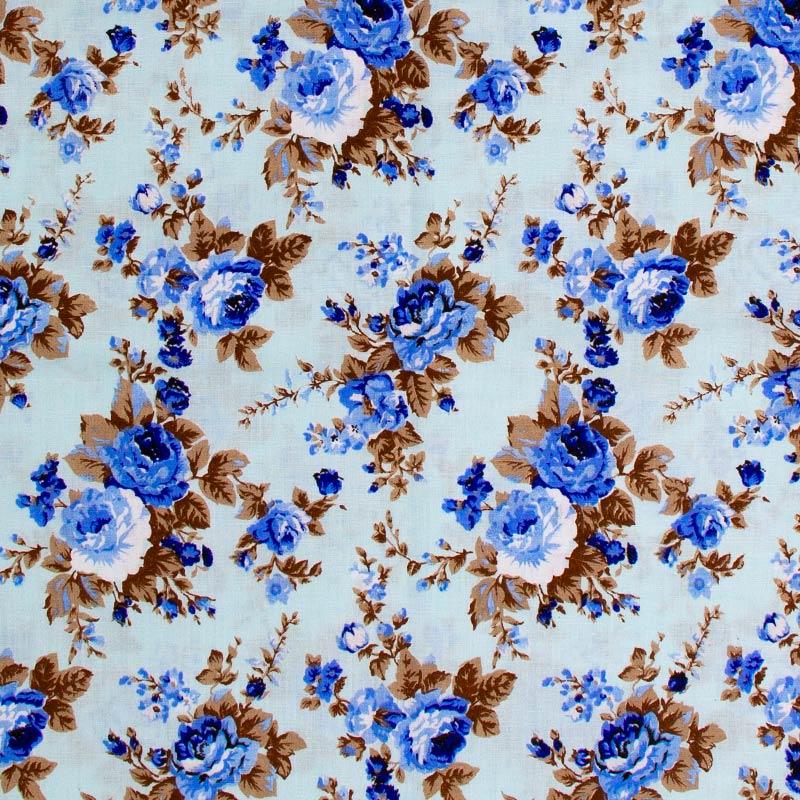Caldeira - Floral Rosas Azul Com Fundo Tiffany - 50cm x 150cm