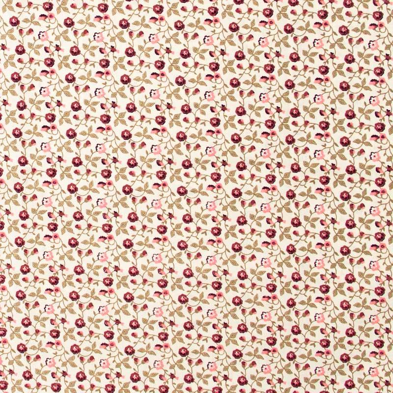 Decorart - Floral  Roxo Com Fundo Creme - 50cm x 150cm