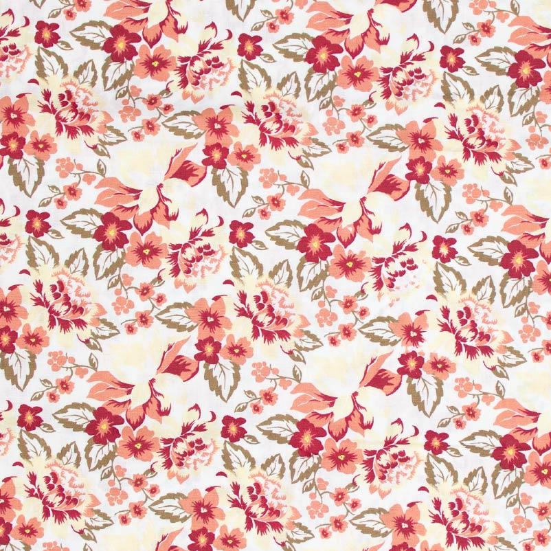Caldeira - Floral  Salmão Com Fundo Cinza - 50cm x 150cm