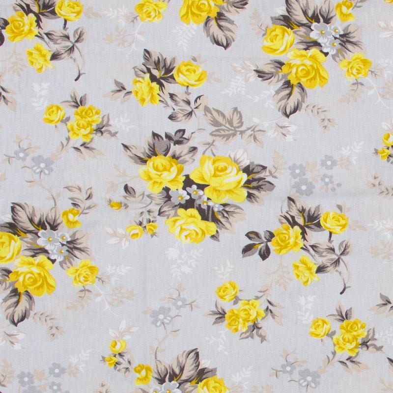 Caldeira - Rosas Amarelas Fundo Cinza - 50cm x 150cm