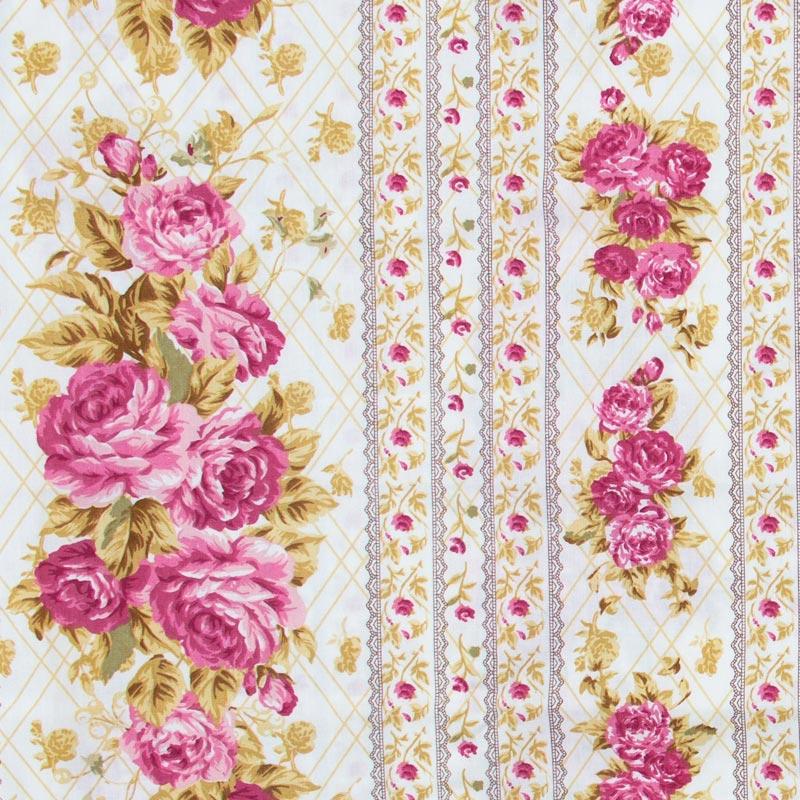 Caldeira - Flores Rosas Folhas Marrom Fundo Branco - 50cm x 150cm