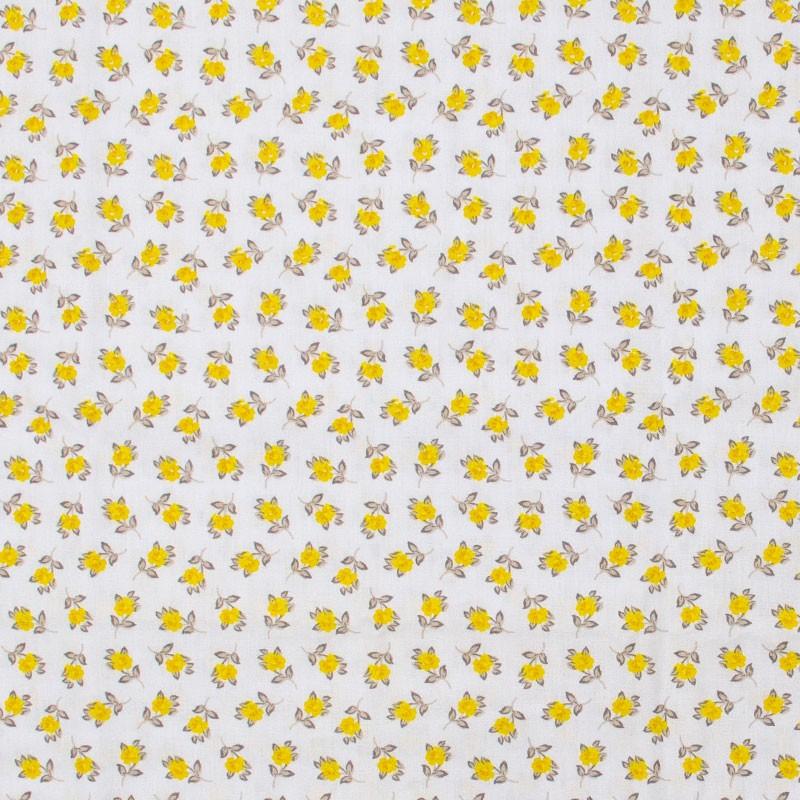 Caldeira - Mini Floral Amarelo Com Fundo Cinza - 50cm x 150cm