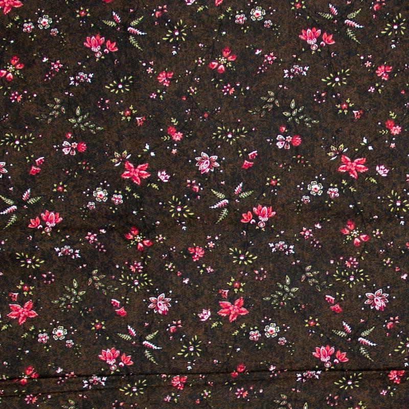 Caldeira - Mini Floral Vermelho Com Fundo Marrom - 50cm x 150cm