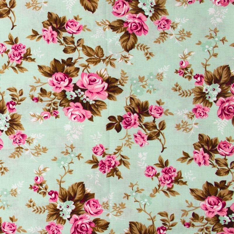 Caldeira - Rosas Rose Com Fundo Verde Claro - 50cm x 150cm