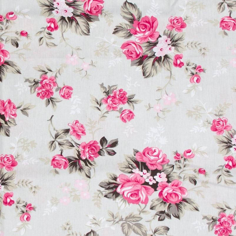 Caldeira - Rosas Rose Com Fundo Cinza - 50cm x 150cm