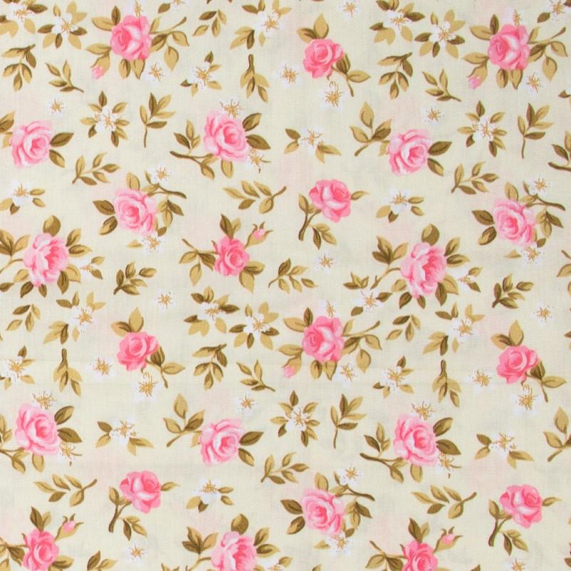 Caldeira - Rosas Rose Com Fundo Cinza Bege  - 50cm x 150cm