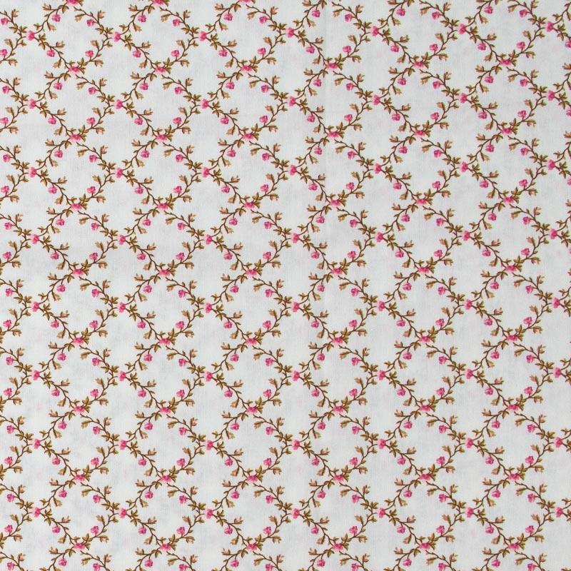 Caldeira - Ramos de Flores Rosa Fundo Creme - 50cm x 150cm