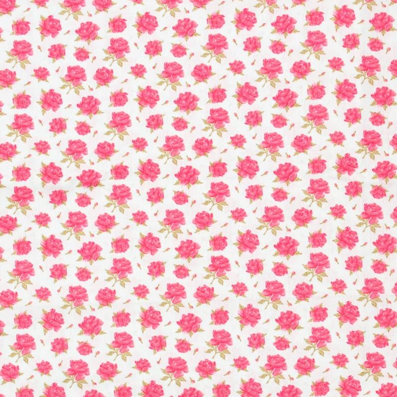 Caldeira - Rosas Rose Folhas verdes Fundo Bege  - 50cm x 150cm
