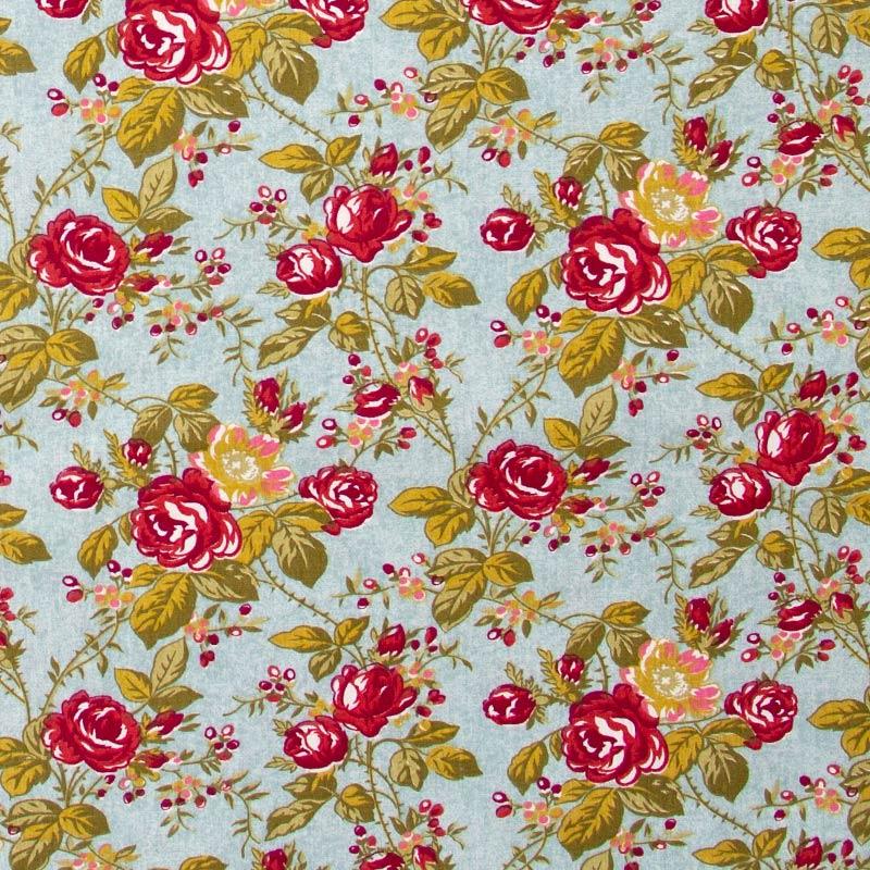 Caldeira - Rosas Vermelhas Folhas Verdes  - 50cm x 150cm