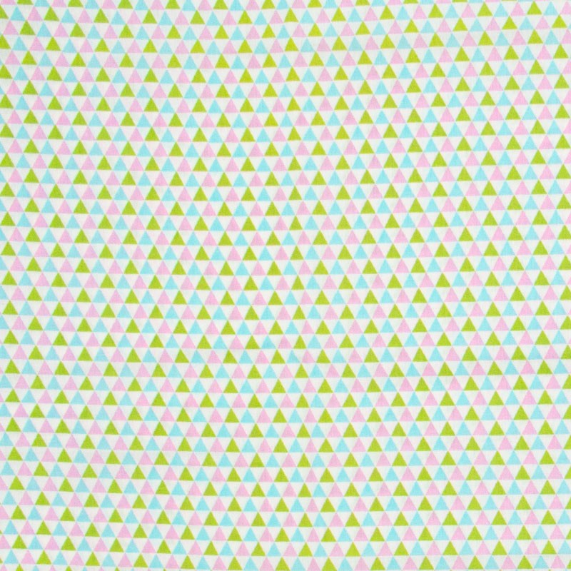 Caldeira - Triângulos Rosa/Azul/Verde Com Fundo Branco - 50cm x 150cm