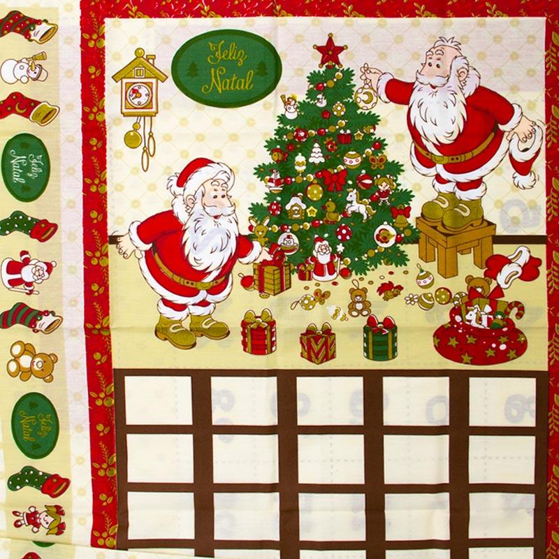 Estilotex - Painel Árvore Natal Papai Noel Fundo Branco - 60cm X150cm