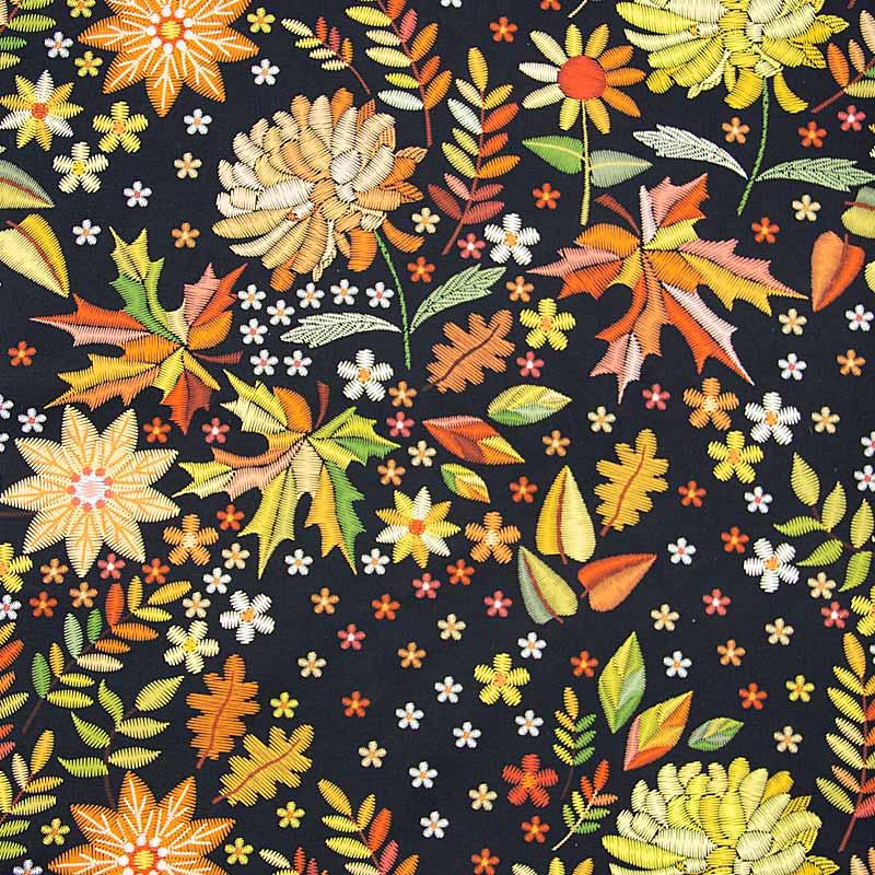Tecido Tricoline Estampado Digital - Bordados de Outono - Floral Amarelo - 50cm X150cm