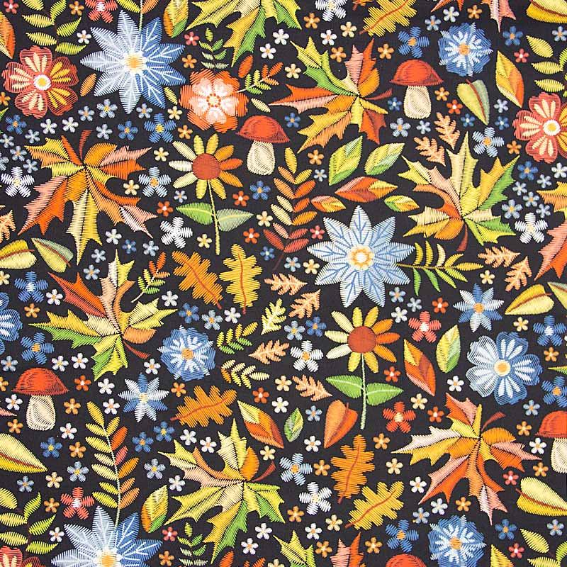 Casa Criativa Coleção Bordados de Outono - Floral Azul - 50cm X150cm