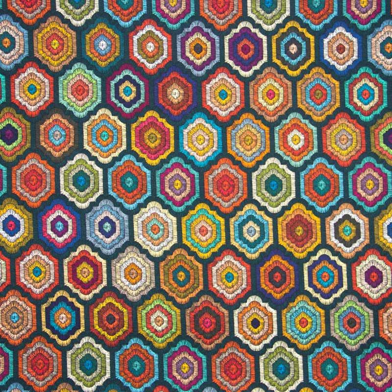 Casa Criativa Coleção Bordados de Outono - Geométrico - 50cm X150cm