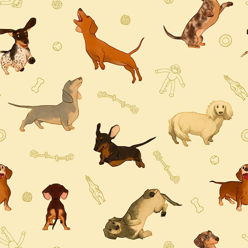 Casa Criativa Coleção Cachorro Salsicha - Salsicha Brincando - 50cm X150cm