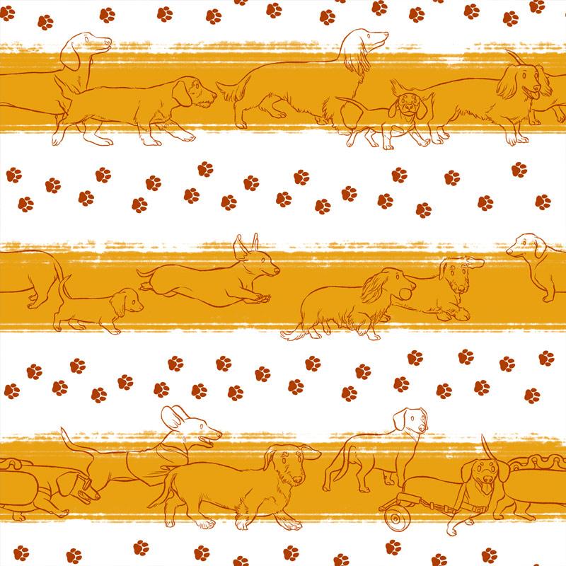 Casa Criativa Coleção Cachorro Salsicha - Salsicha Listrado - 50cm X150cm