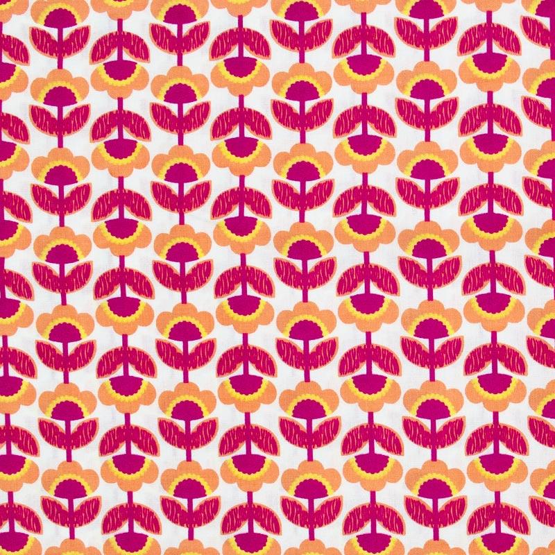 Floral Laranja/Vermelho Com Fundo Branco - 50cm X150cm