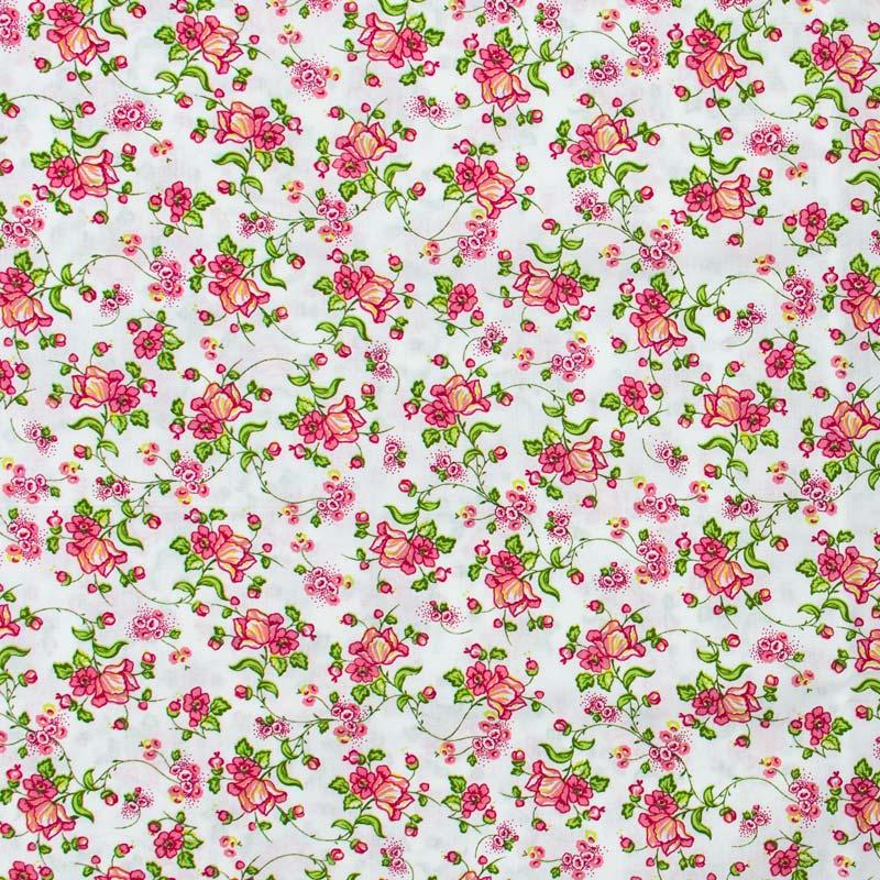 Floral Rosa Com Fundo Branco- 50cm X150cm