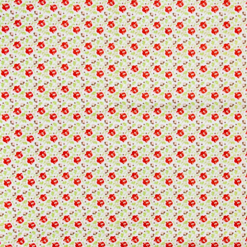 Floral Vermelho Com Fundo Branco - 50cm X150cm