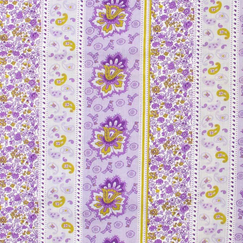 Catarinense - Faixa Cashmere/Floral com Fundo Roxo - 50cm X150cm