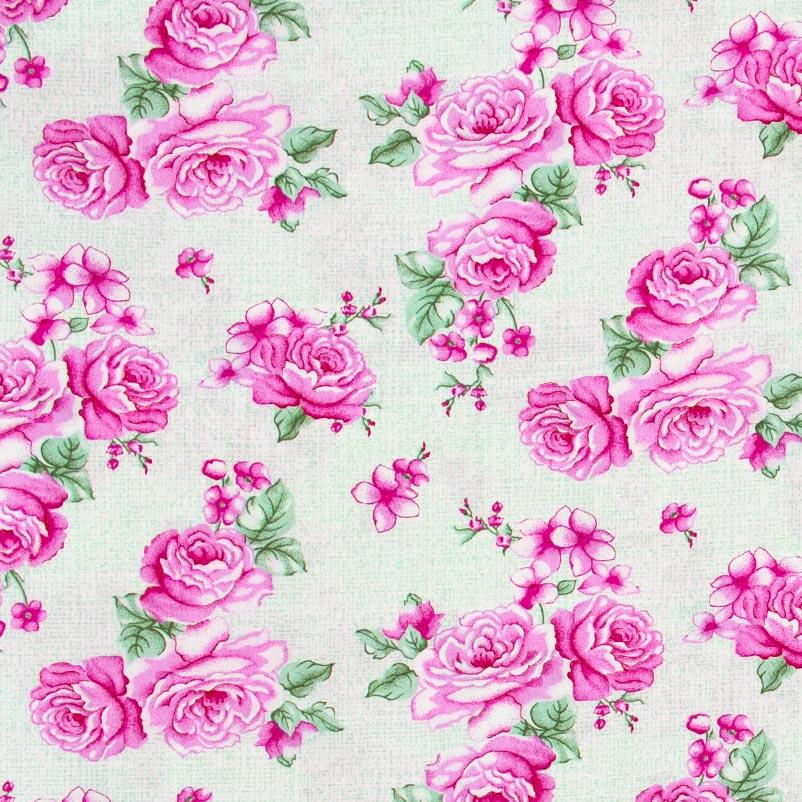 Catarinense - Floral Rosa Folhas Verdes Com Fundo CInza - 50cm X150cm