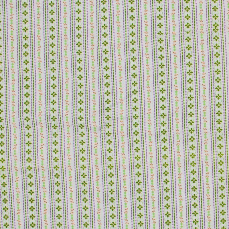 Catarinense - Listrado Floral Verde Laranja - 50cm X150cm