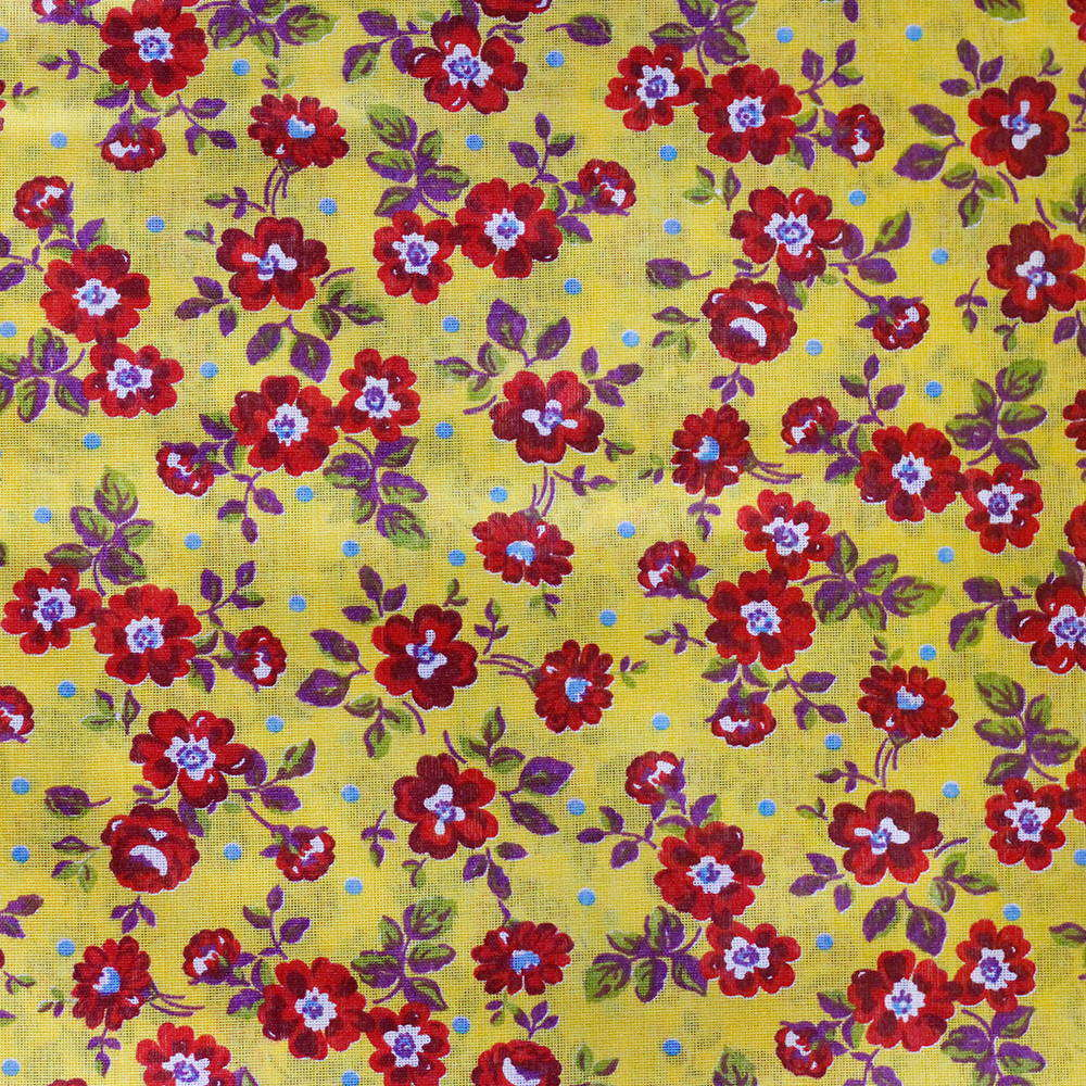 Chita Floral Vermelho Pequeno Fundo Amarelo