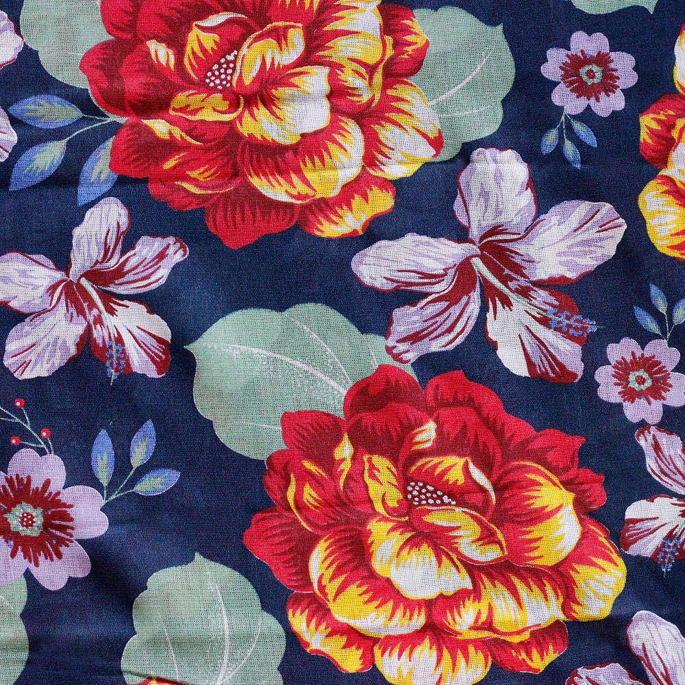 Chita Floral Fundo Azul Escuro