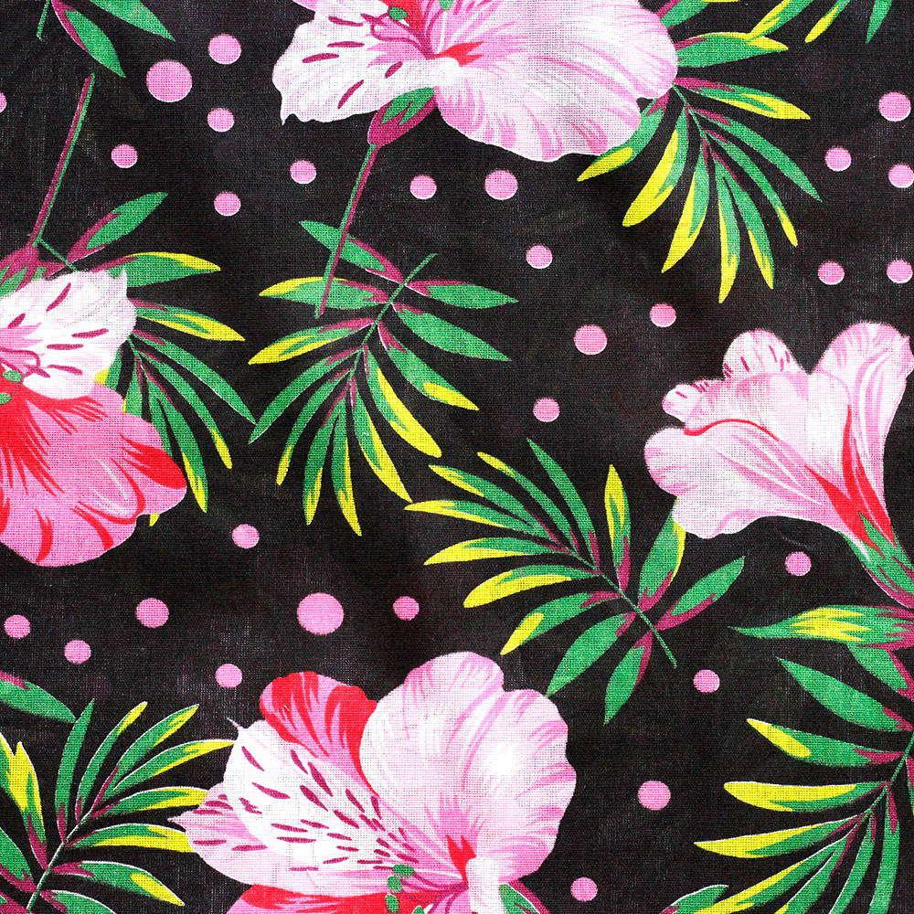 Chita Floral Lirio Rosa Fundo Preto