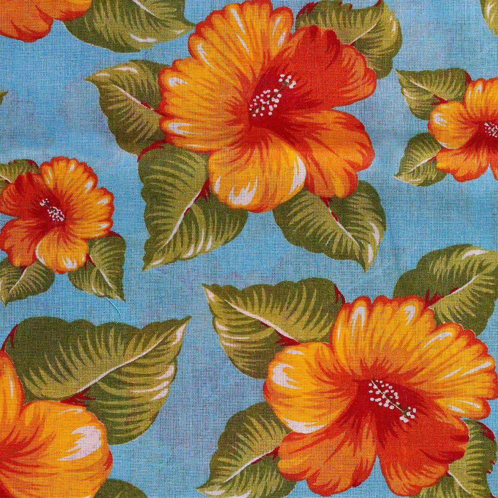 Chita Floral Laranja Fundo Azul