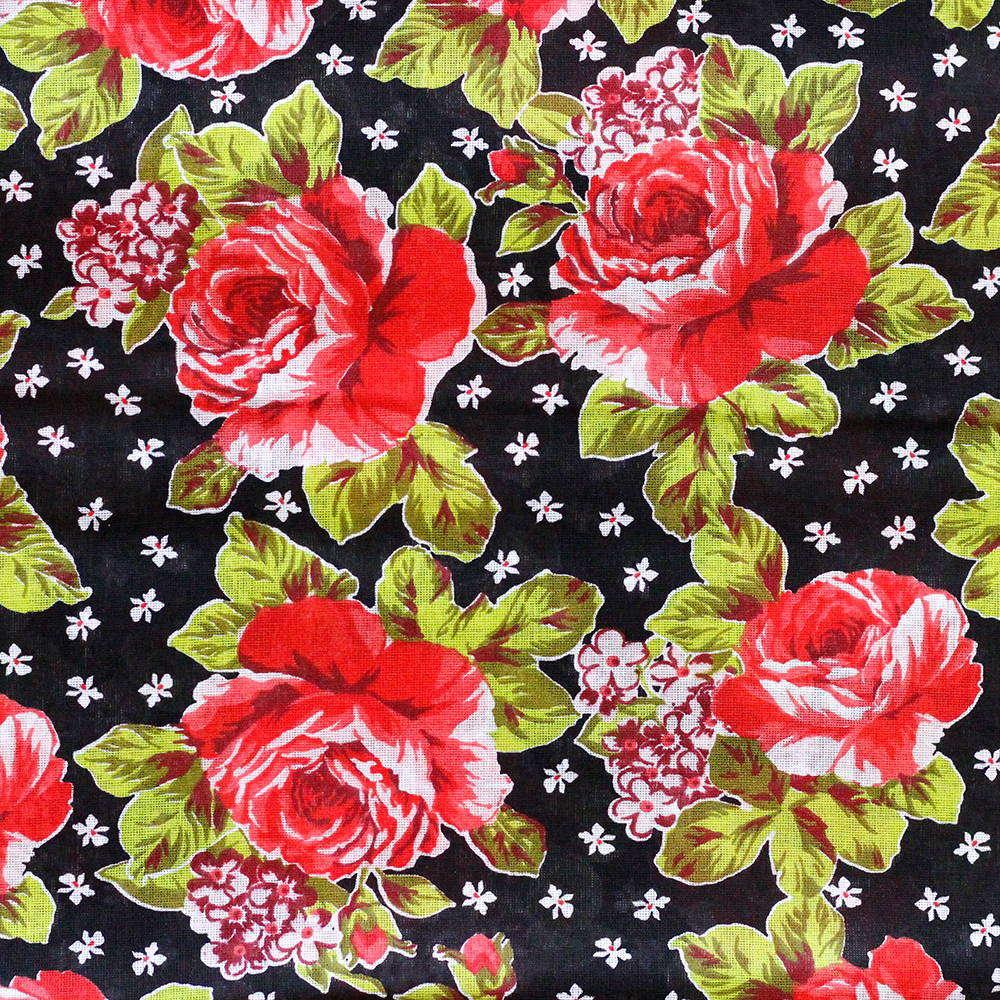 Chita Floral Vermelho Fundo Preto 50cm x 140cm