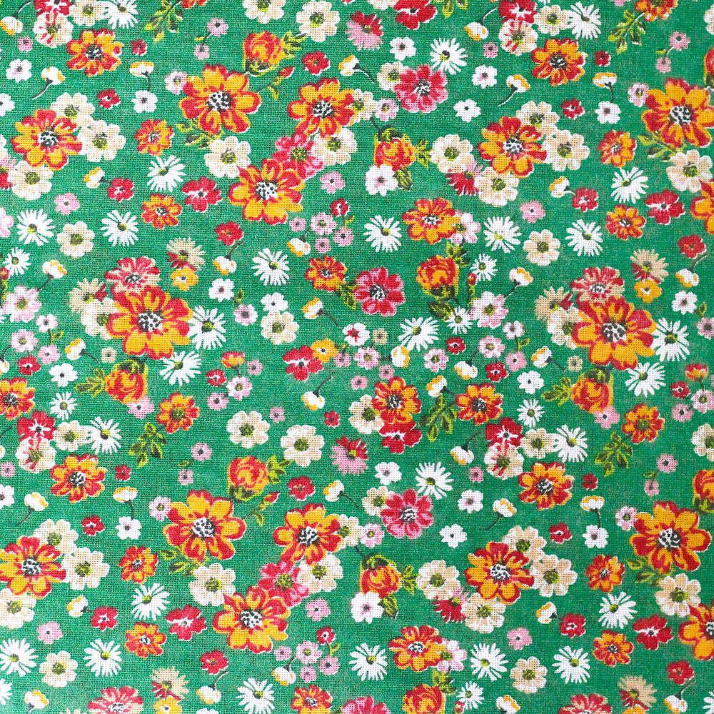 Chita Floral Laranja Pequeno Fundo Verde 50cm x 140cm