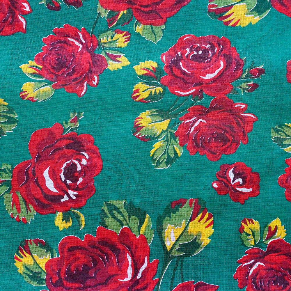 Chita Floral Vermelho Fundo Verde Escuro 50cm x 140cm